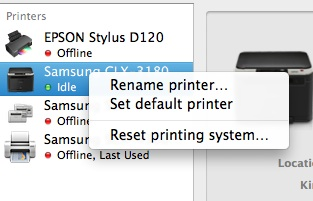 Mavericks Mac Printer Problem